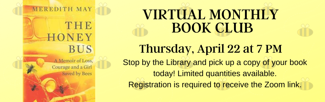Virtual Book Club is Thursday, April 22 at 7 PM